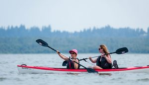 Two Women Kayaking on Vancouver Lake