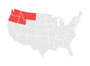 Map of the Regional Areas Served by NWABA, Including Washington, Oregon, Idaho, and Montana