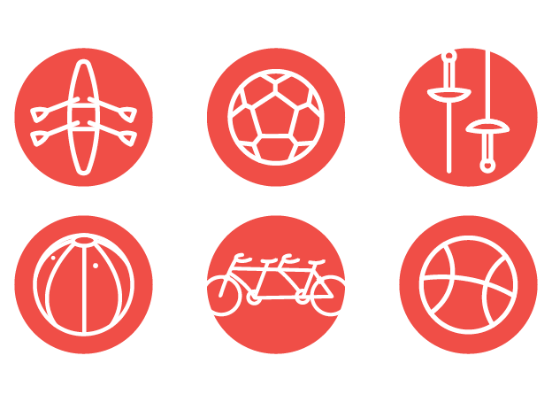 icons of a kayak, soccer ball, ski poles, goalball, bike, and baseball