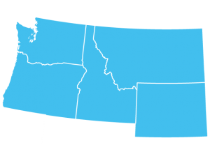 map of Washington, Oregon, Idaho and Montana