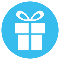 gift in a blue circle
