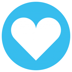 heart in a blue circle