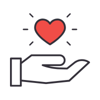 hand icon holding out a heart